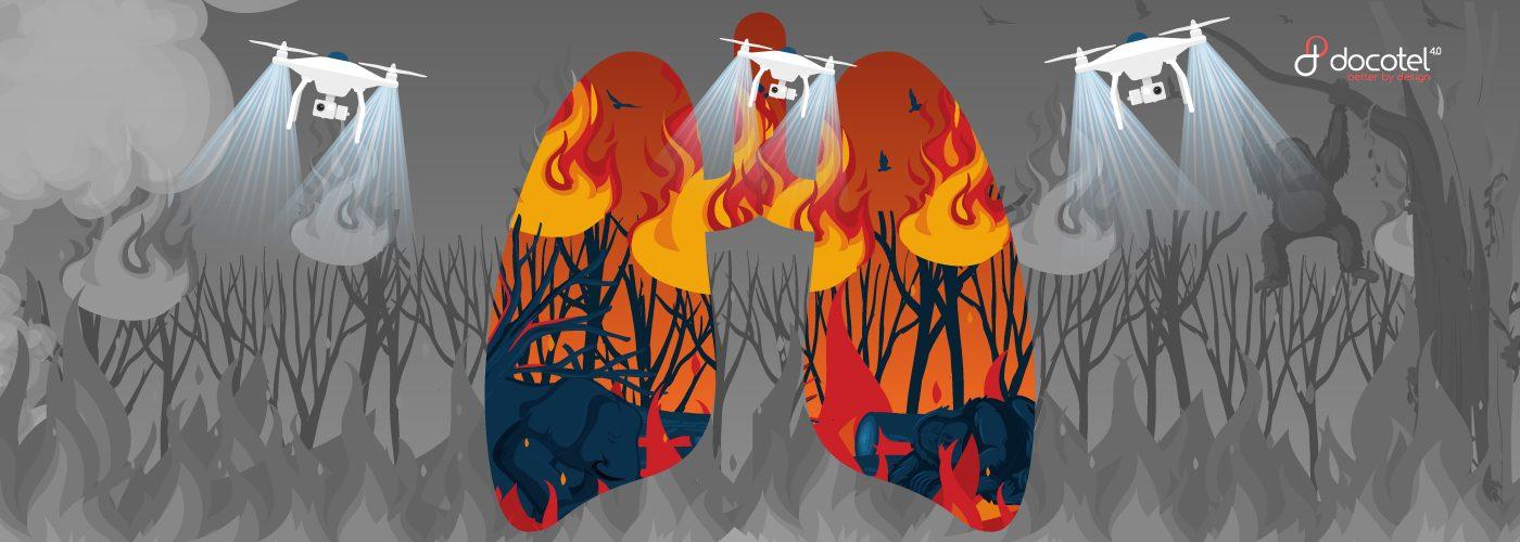 docotel official blog - Menghadapi Kebakaran Hutan dan Lahan (Karhutla) dengan Bantuan Drone